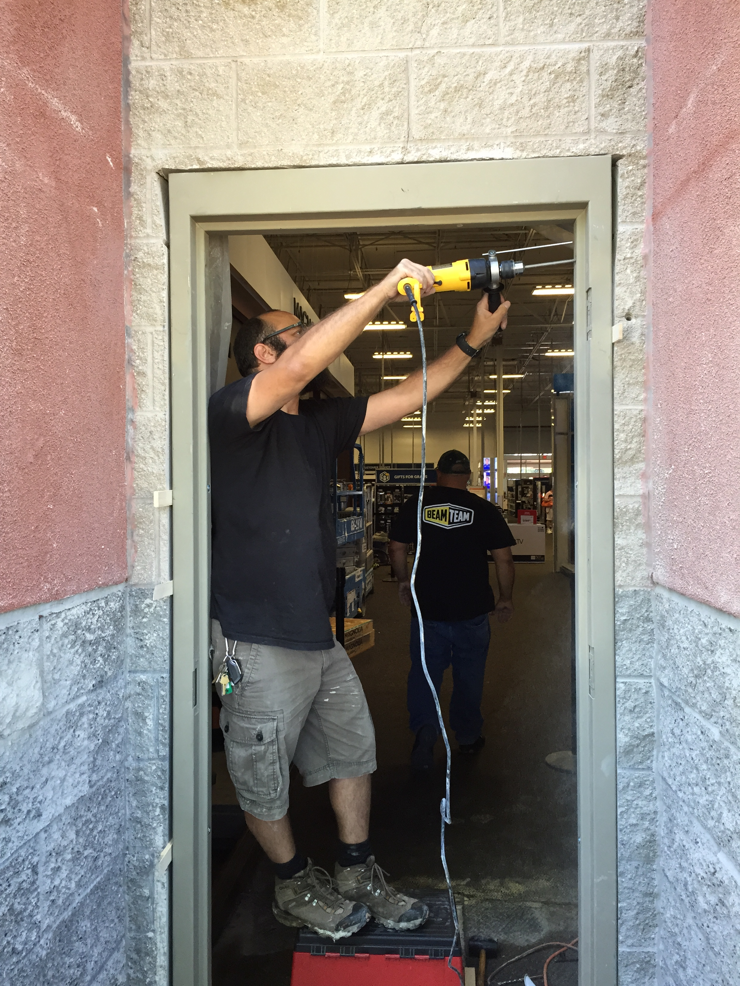 door frame prep for commercial door install Best Buy Dublin CA