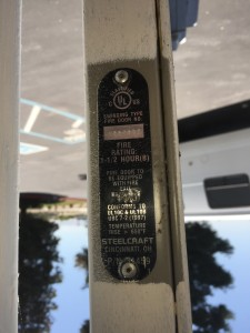 Label on commercial door livermore ca showing fire rating